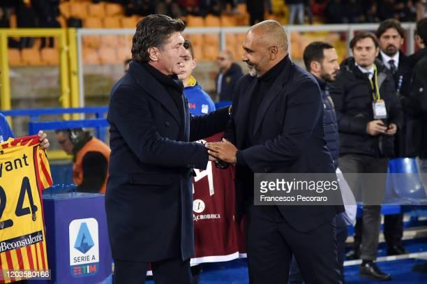 Walter Mazzarri Torino FC coach greets Fabio Liverani US Lecce coach before the Serie A match between US Lecce and Torino FC at Stadio Via del Mare...