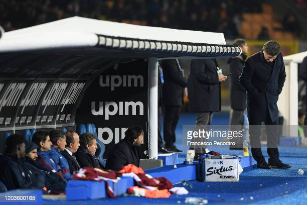 Walter Mazzarri Torino FC coach stands disappointed during the Serie A match between US Lecce and Torino FC at Stadio Via del Mare on February 02...