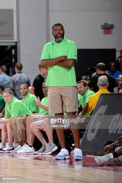 Walter McCarty of the Boston Celtics coaches during the 2017 Las Vegas Summer League game against the Golden State Warriors on July 13 2017 at the...