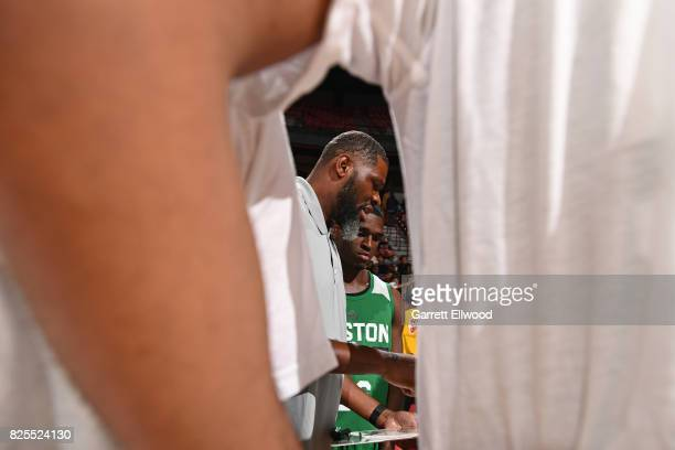 Walter McCarty of the Boston Celtics coaches during the Quarterfinals of the 2017 Las Vegas Summer League against the Dallas Mavericks on July 15...