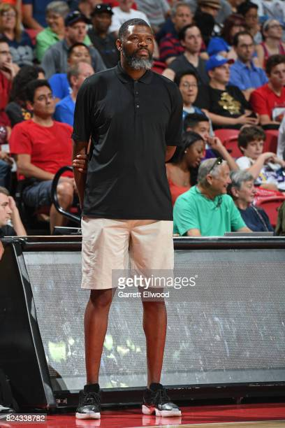 Walter McCarty of the Boston Celtics looks on during the game against the Portland Trail Blazers during the 2017 Las Vegas Summer League on July 9...