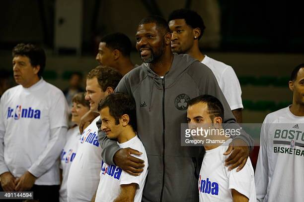 Walter McCarty of the Boston Celtics participates during the Celtics Jr NBA Special Olympics Clinic as part of the 2015 Global Games on October 3...