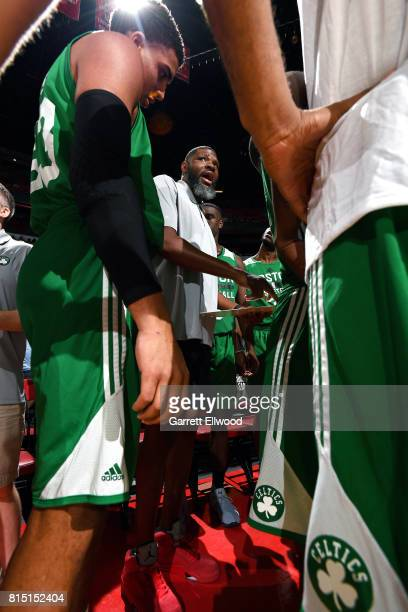 Walter McCarty of the Boston Celtics talks with his team during the game against the Dallas Mavericks during the Quarterfinals of the 2017 Las Vegas...