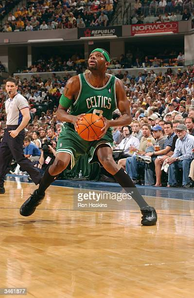 Walter McCarty of the Boston Celtics with the ball during the game against the Indiana Pacers in Game 1 of the Eastern Conference Quarterfinals...