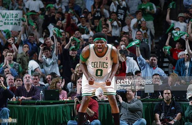 Walter McCarty of the Boston Celtics yells in Game three of the Eastern Conference Quarterfinals against the Indiana Pacers during the 2003 NBA...