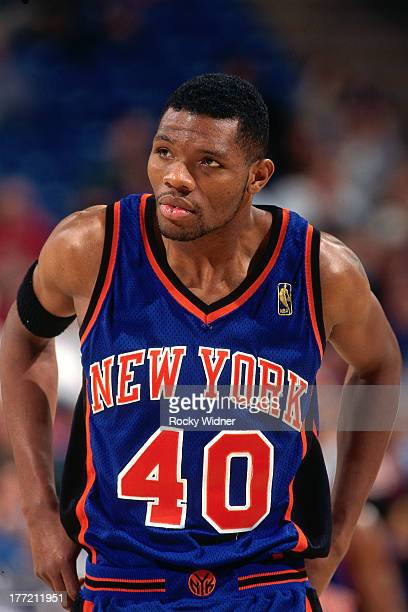 Walter McCarty of the New York Knicks looks on against the Sacramento Kings on February 20 1997 at Arco Arena in Sacramento California NOTE TO USER...