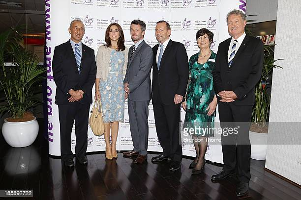 Walter Mikac Princess Mary of Denmark Prince Frederik of Denmark Australian Prime Minister Tony Abbott Judith Slocombe and John Bertrand pose for a...