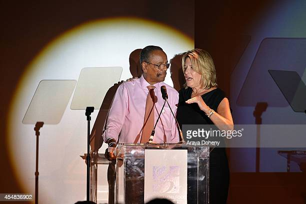 Walter Mitchell and Laurie Lang attend the Project Angel Food's 25th Anniversary Angel Awards 2014 honoring Aileen Getty with the Inaugural Elizabeth...