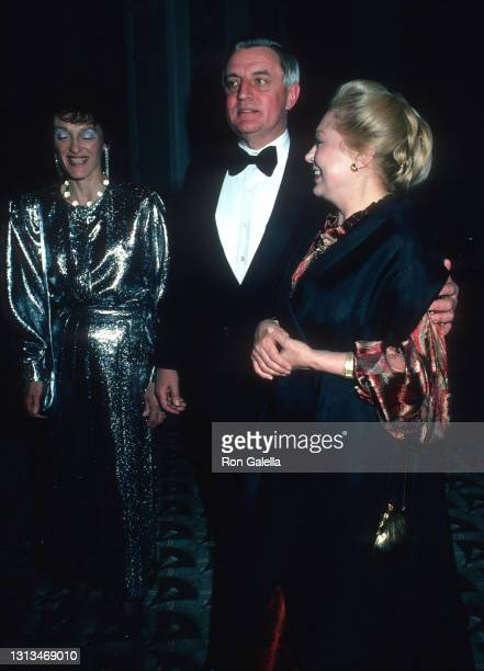 Walter Mondale, Joan Mondale and Mathilde Krim attend Democratic National Committee's Fundraising Benefit at the Waldorf Hotel in New York City on...
