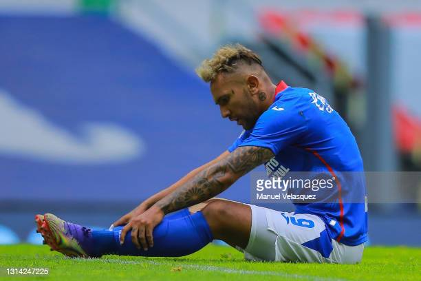 Walter Montoya of Cruz Azul reacts after missing a chance of goal during the 16th round match between Cruz Azul and Atletico de San Luis as part of...
