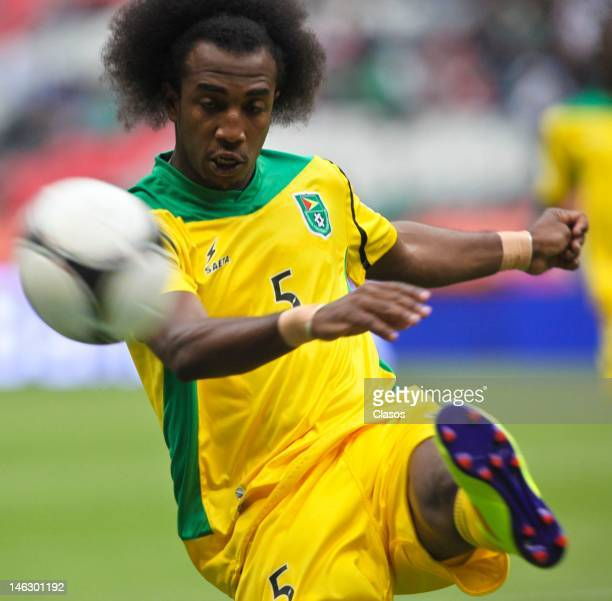 Walter Moore of Guyana kicks the ball during match of soccer between Mexico and Guyana as part of the CONCACAF Qualifiers for the World Cup Brazil...