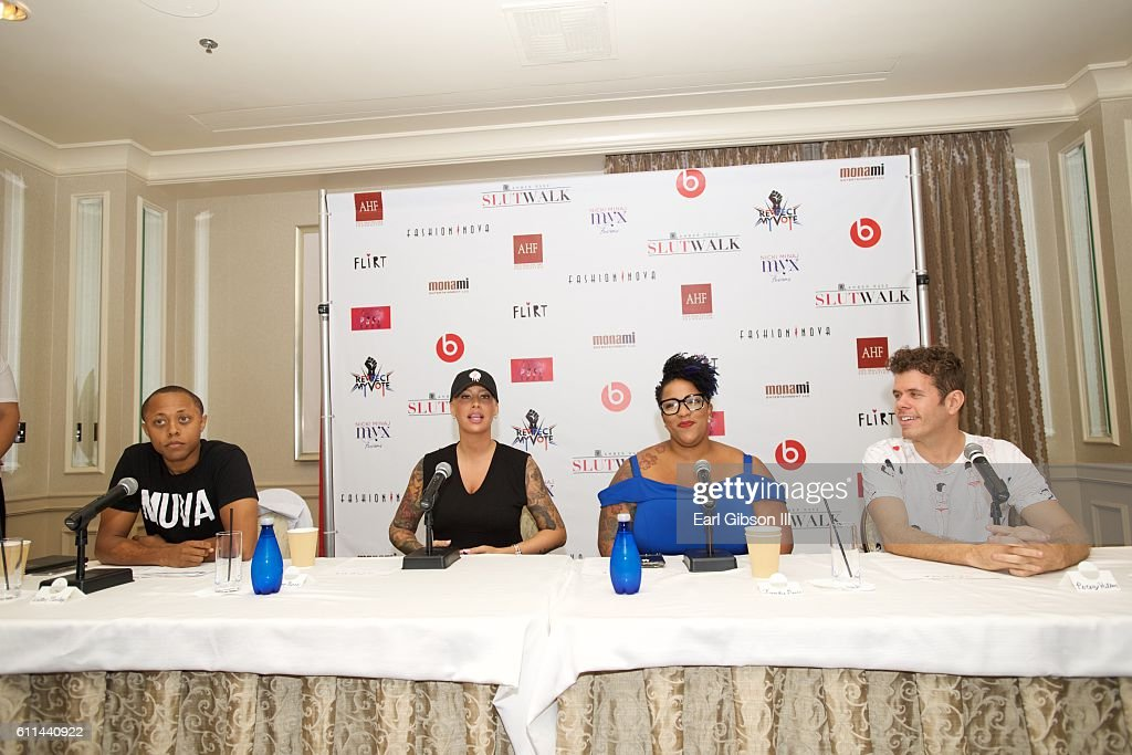 Walter Mosley, Amber Rose, Frenchie Davis and Perez Hilton serve as panelist at the SlutWalk Festival-Press Conference with Amber Rose and Perez Hilton at Four Seasons Hotel Los Angeles at Beverly Hills on September 29, 2016 in Los Angeles, California.
