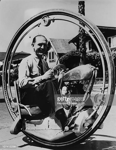 Walter Nilsson In His Unicycle In Los Angeles On July 6Th 1935