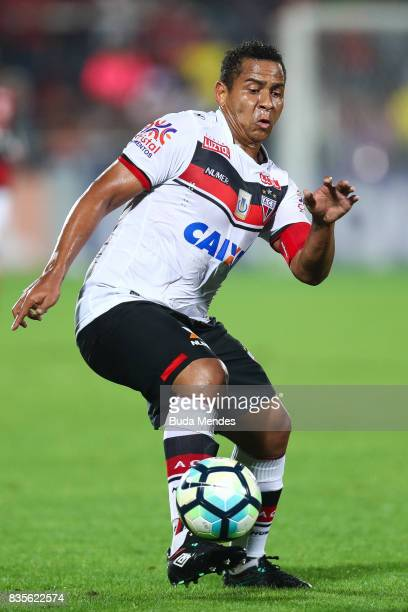 Walter of Atletico GO controls the ball during a match between Flamengo and Atletico GO part of Brasileirao Series A 2017 at Ilha do Urubu Stadium on...
