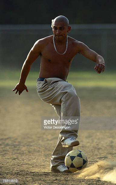 Walter of Nicaragua controls the ball during a pick up match at Pan Pacific Park in the Fairfax District of Los Angeles on July 19 2006 in Los...