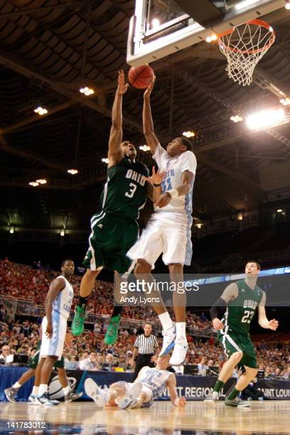 Walter Offutt of the Ohio Bobcats attempts a shot in the second half against John Henson of the North Carolina Tar Heels uring the 2012 NCAA Men's...