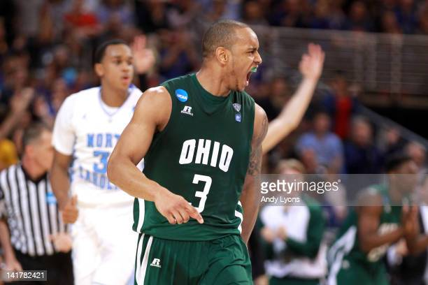 Walter Offutt of the Ohio Bobcats reacts in the second half against the North Carolina Tar Heels during the 2012 NCAA Men's Basketball Midwest...