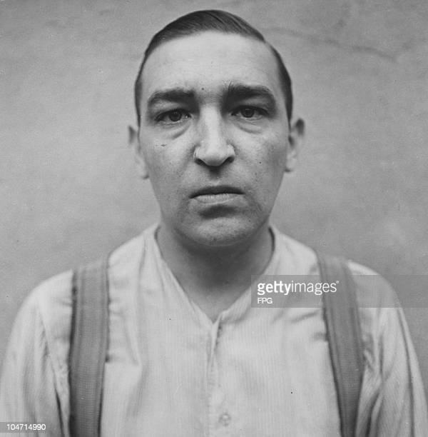 Walter Otto, a guard at the Bergen-Belsen concentration camp, Germany, circa 1945. Charged with war crimes and crimes against humanity, Otto is...