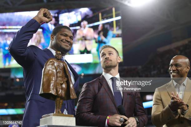Walter Payton NFL Man of the Year Award winner Calais Campbell is honored before Super Bowl LIV between the Kansas City Chiefs and the San Francisco...