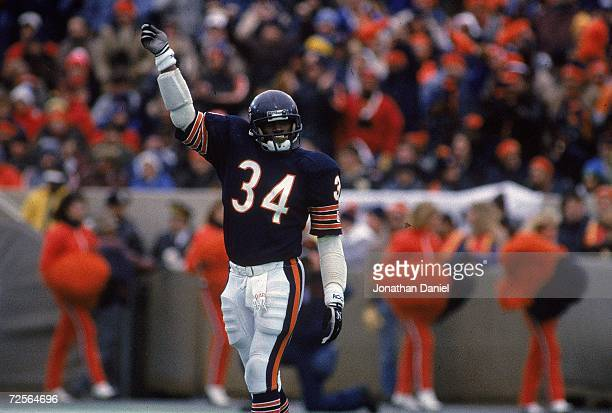 Walter Payton of the Chicago Bears celebrates on the field as the Bears win the NFC Championship