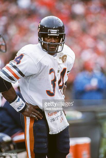 Walter Payton of the Chicago Bears prowls the sidelines during the Conference Championship game against the San Francisco 49ers played on January 6,...