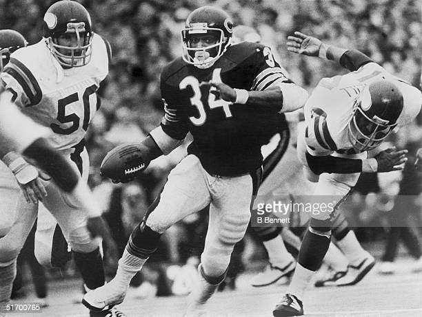 Walter Payton of the Chicago Bears runs the ball during an NFL game against the Minnesota Vikings Walter Payton played in the NFL from 197587