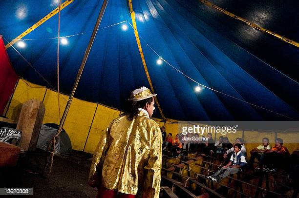 Walter performs in front of the audience during a show on July 04 2010 in Amazonia region Ecuador Anny Circus is one of those oldfashioned travelling...
