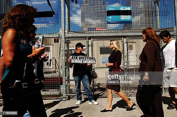 """Walter Reddy, a supporter of the documentary """"Loose Change"""" protests on the east side of Ground Zero calling for further investigation into the..."""