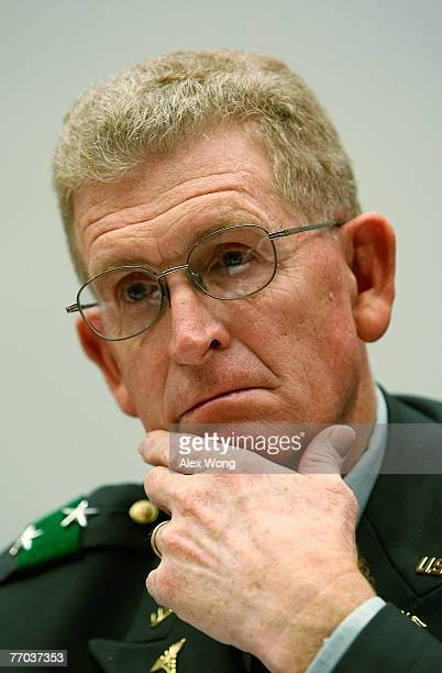 Walter Reed Army Medical Center Commander Major General Eric Schoomaker listens as he testifies during a hearing before the National Security and...