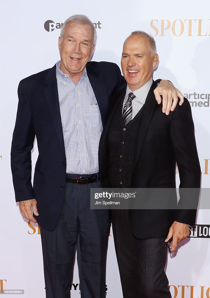 Walter Robinson and actor Michael Keaton attend the 'Spotlight' New York premiere at Ziegfeld Theater on October 27, 2015 in New York City.