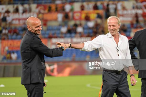 Walter Sabatini and Monchi during the Italian Serie A football match between AS Roma and FC Inter at the Olympic Stadium in Rome on august 26 2017