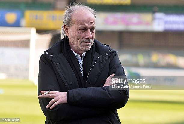 Walter Sabatini sporting director of AS Roma looks on prior to the beginning of the Serie A match between AC Chievo Verona and AS Roma at Stadio...