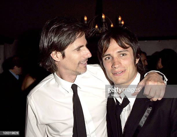 Walter Salles and Gael Garcia Bernal during 2004 Cannes Film Festival Motorcycle Diaries Party at La Plage Coste in Cannes France