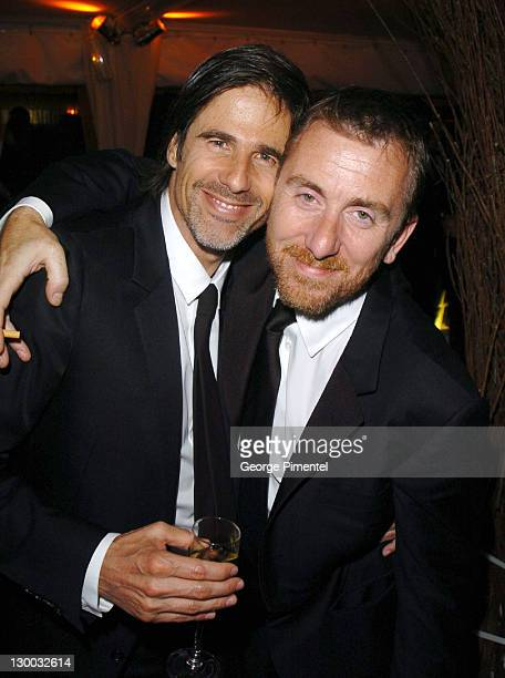 Walter Salles and Tim Roth during 2004 Cannes Film Festival 'Motorcycle Diaries' Party at La Plage Coste in Cannes France