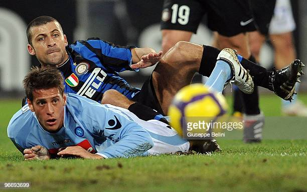 Walter Samuel of Inter and German Denis of Napoli in action during the Serie A match between SSC Napoli and FC Internazionale Milano at Stadio San...