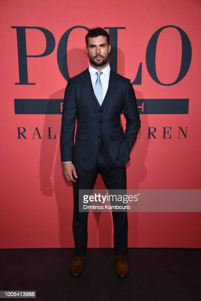 Walter Savage attends the Polo Red Rush Launch Party with Ansel Elgort at Classic Car Club Manhattan on July 25 2018 in New York City