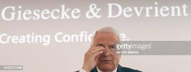 Walter Schlebusch CEO of banknote and securities printing company Giesecke Devrient speaks at the annual balance sheet press conference in...