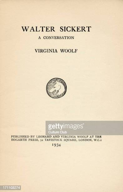 A conversation by Virginia Woolf Title page of book Published by Leonard and Virginia Woolf at the Hogarth Press 52 Tavistock Square London WC1 1934...