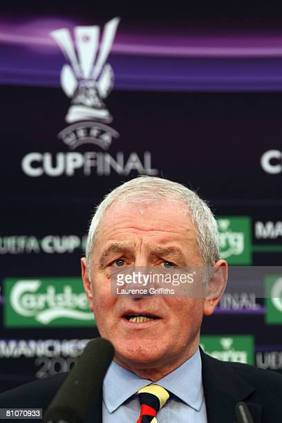 Walter Smith Coach of Glasgow Rangers talks during the Glasgow Rangers press conference ahead of the UEFA Cup Final at the City of Manchester Stadium...