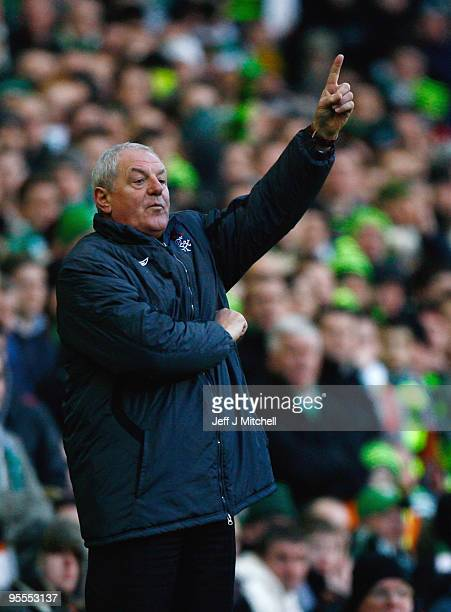 Walter Smith coach of Rangers gestures from the dug out during the Scottish Premier League match between Celtic and Rangers at Celtic Park on January...