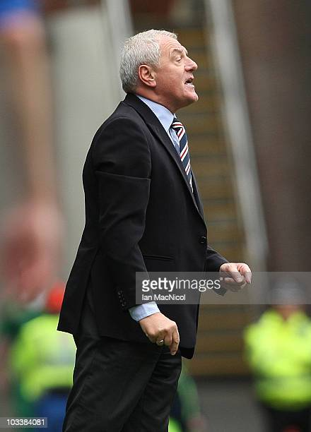 Walter Smith coach of Rangers issues instructions to his players during the Clydesdale Bank Scottish Premier League match between Glasgow Rangers and...
