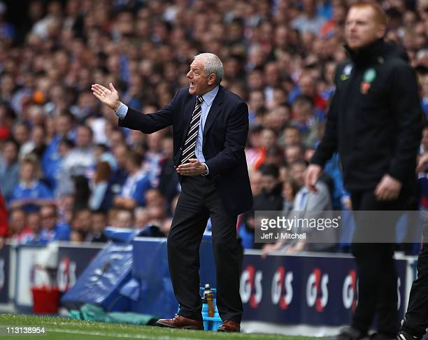 Walter Smith coach of Rangers issues instructions to his players during the Clydesdale Bank Premier League match between Rangers and Celtic at Ibrox...