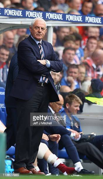 Walter Smith coach of Rangers looks from the dug out during the Clydesdale Bank Premier League match between Rangers and Hearts at Ibrox Stadium on...