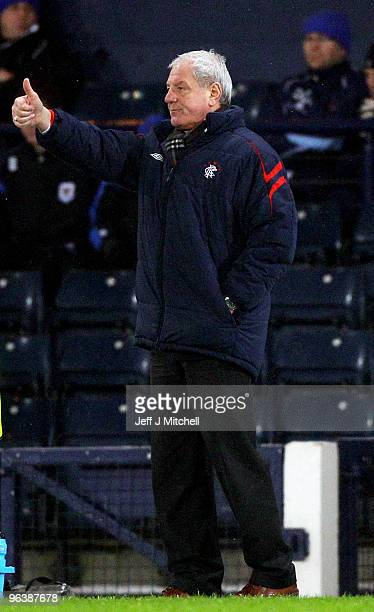 Walter Smith coach of Rangers reacts during the Cooperative Insurance Cup Semi Final between Rangers and St Johnstone at Hampden Park on February 3...