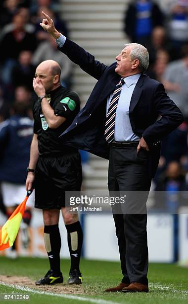 Walter Smith coach of Rangers reacts during the Scottish Premier League match between Rangers and Aberdeen at Ibrox Stadium on May 16 2009 in Glasgow...