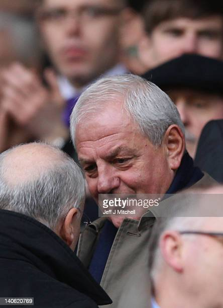 Walter Smith former Rangers coach attends the Clydesdale Bank Scottish Premier League match between Rangers and Hearts at Ibrox Stadium on March 3...