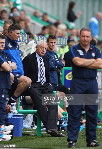 Walter Smith head coach of Rangers reacts during the Clydesdale Bank Scottish Premier League match between Hibernian and Rangers at Easter Road...