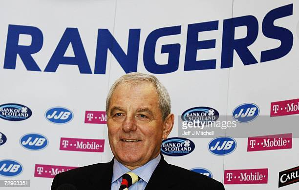 Walter Smith is unveiled as the new Rangers manager at the club's Murray Park training ground on January 10 2007 in Glasgow Scotland Smith replaces...