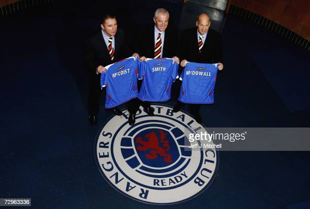 Walter Smith is unveiled as the new Rangers manager with Ally McCoist and Kenny McDowall at their Murray Park training ground on January 10 2007 in...