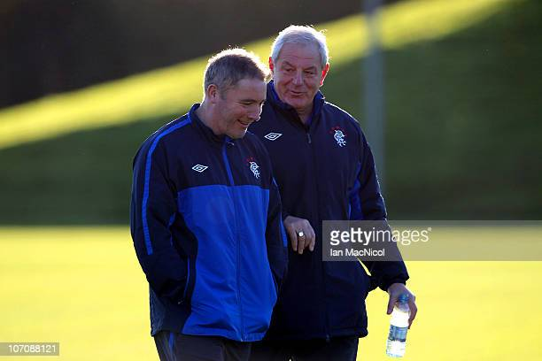 Walter Smith manager of Glasgow Rangers and assistant coach Ally McCoist during training at Murray Park prior to tomorrow night's UEFA Champions...